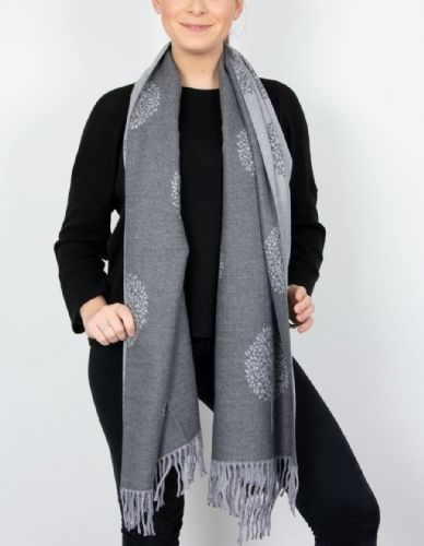 Reversible Mulberry Tree Pashmina & Scarf  - Dark Grey & Grey